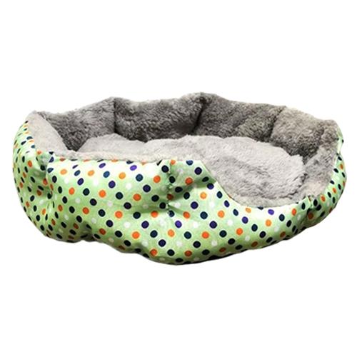 Круглый меховой лежак для кошек и собак. Цвет: зеленый.