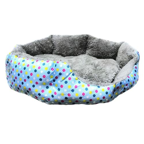 Круглый меховой лежак для кошек и собак. Цвет: голубой.