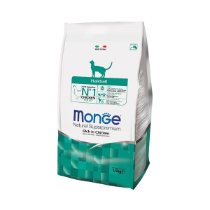 Сухой корм для кошек Monge Natural Superpremium Hairball для вывода шерсти с курицей 1.5 кг