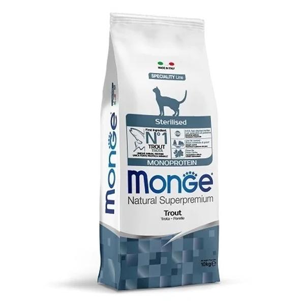 Сухой корм для стерилизованных кошек Monge Natural Superpremium профилактика избыточного веса с форелью 10 кг