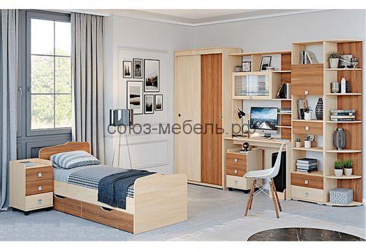 Детская Евро (шкаф-купе №17+стол компьютерный с надстройкой №1+тумба №10+шкаф книжный №7+угол заверш. №8*+кровать с ящиками №15+тумба №10)
