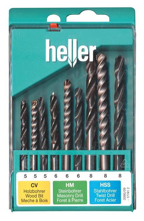 Набор свёрл Heller комбинированный по дереву (CV), бетону (Prostone) и металлу (HSS-R) (9 пр.)