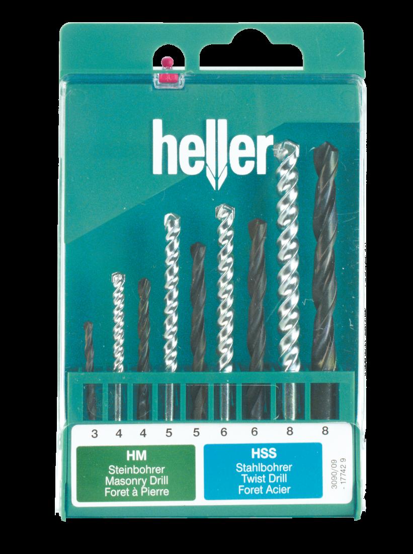 Набор свёрл Heller комбинированный по металлу (HSS-R) d 3/4/5/6/8 и камню (Prostone) d 4/5/6/8 (9 пр.)