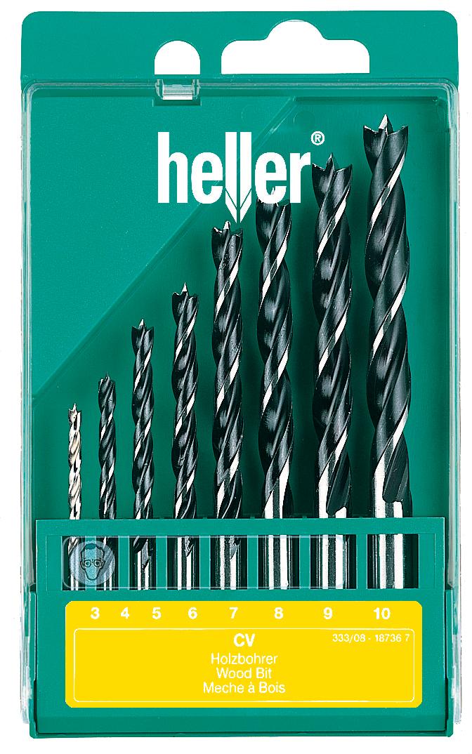 Набор спиральных сверл Heller CV по дереву (3-10 мм) (8 пр.)