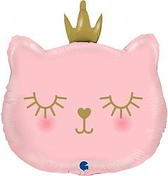 Шар (26''/66 см) Фигура, Котенок Принцесса, Розовый, 1 шт.