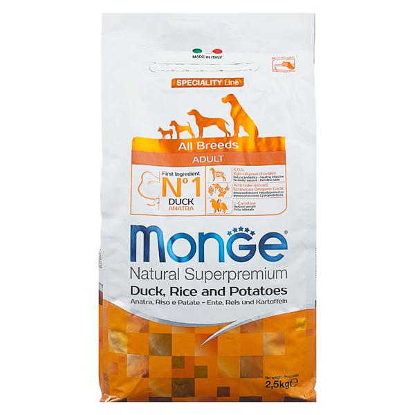 Сухой корм для собак Monge Speciality line с уткой рисом и картофелем 2.5 кг