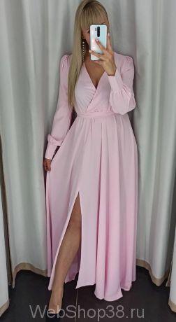Розовое вечернее платье в пол с разрезом и рукавами