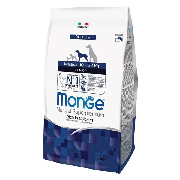 Сухой корм для пожилых собак средних пород Monge Daily Line Medium Senior с курицей 3 кг