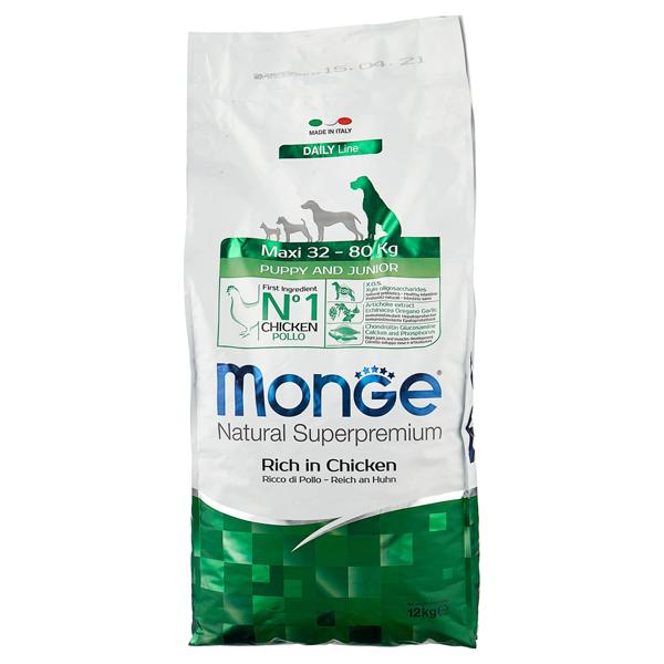 Сухой корм для щенков крупных пород Monge Daily Line Puppy and Junior Maxi с курицей 12 кг