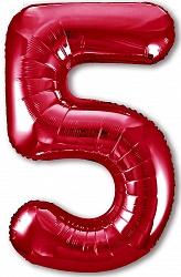 Шар (40''/102 см) Цифра, 5 Slim, Красный, 1 шт. в упак.