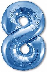 Шар (40''/102 см) Цифра, 8 Slim, Синий, 1 шт. в упак.