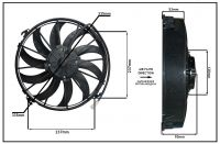 """Осевой вентилятор, 12"""" дюймов, 120W, 12V, Всасывающий (PULL), STR200"""
