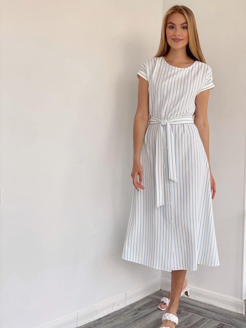 4133 Платье белое в тонкую синюю полоску