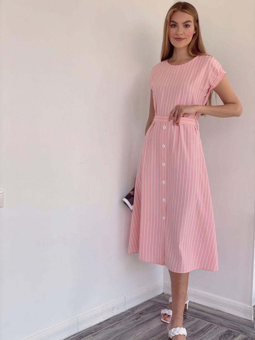 4137 Платье в тёплом розовом цвете в полоску