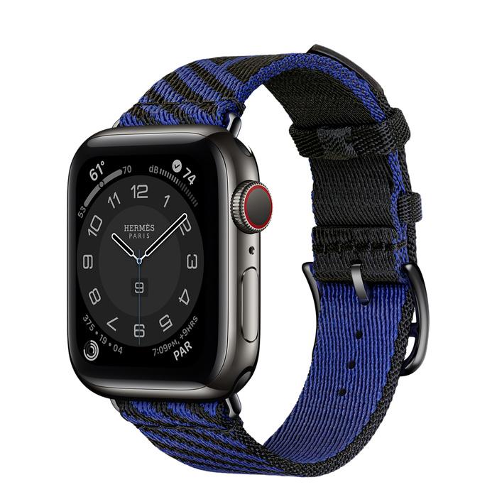 Часы Apple Watch Hermès Series 6 GPS + Cellular 40mm Space Black Stainless Steel Case with Noir/Bleu Saphir Jumping Single Tour