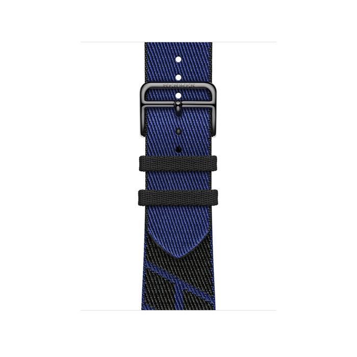 Ремешок Apple Watch Hermès Noir/Bleu Saphir Jumping Single Tour из кожи (для корпуса 40 мм)