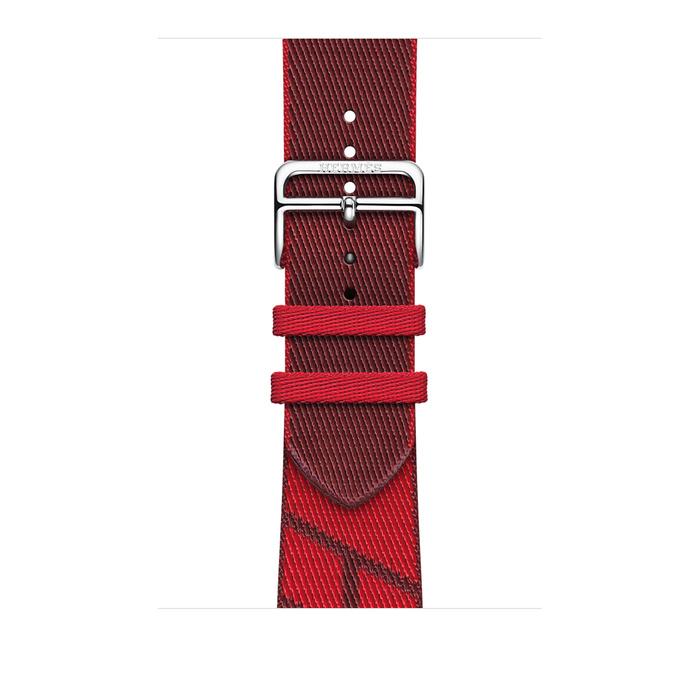 Ремешок Apple Watch Hermès Rouge de Cœur/Rouge H Jumping Single Tour из кожи (для корпуса 44 мм)