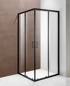 Душевой уголок Oporto Shower A-54 BLACK 80x80x185 см, две раздвижные двери