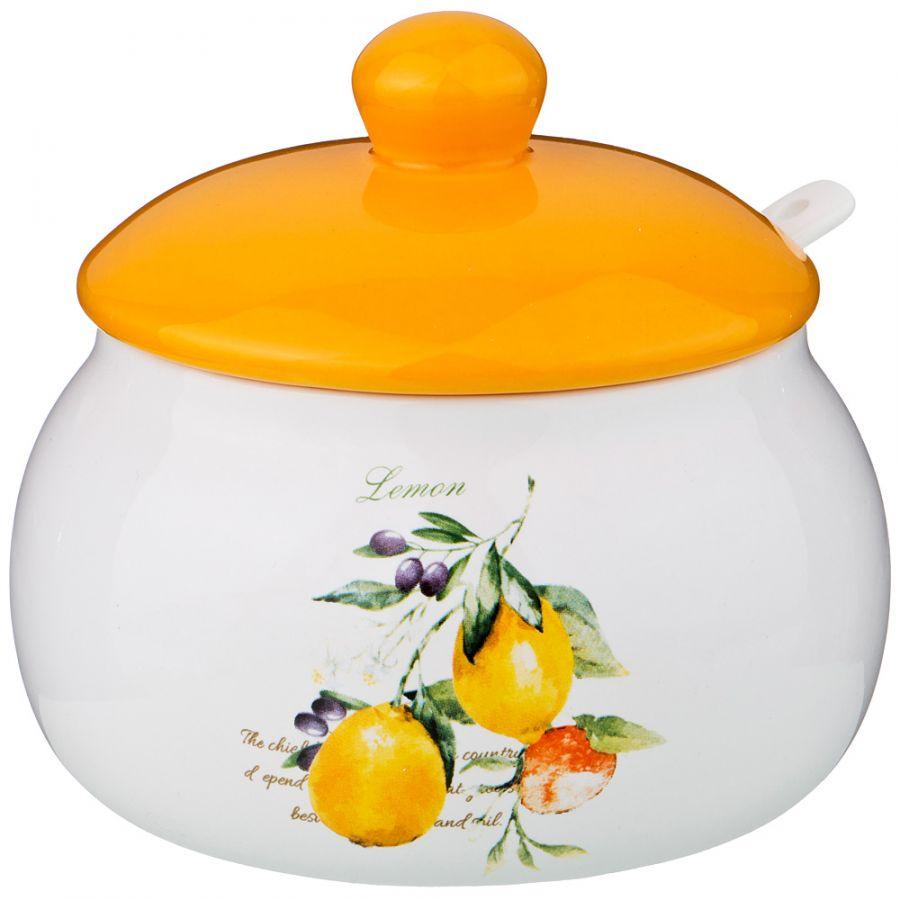 """Банка для сыпучих продуктов с ложкой """"Итальянские лимоны"""" 500 мл., 13 см. h=11.6 см."""