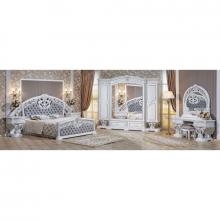 Спальня МАРЕЛЛА 1,8 6-дверный шкаф белый/серебро/велюр