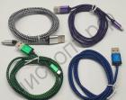 Кабель USB 2.0 Aм вилка(папа)--микро B(microUSB) вилка(папа) текстильный с метал. штекер 1м (3,6д)