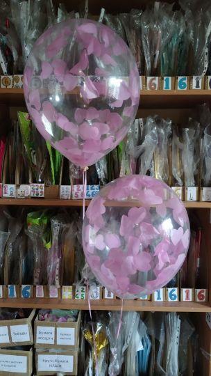 Шар с розовыми сердечками конфетти латексный с гелием