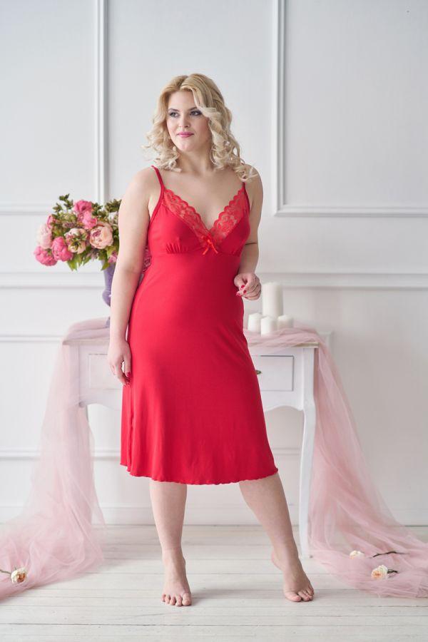 Ночная сорочка арт.0056 красная, вискоза