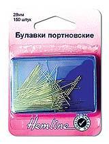 Булавки гвоздики портновские наметочные Hemline 28 мм. 150 штук в пластиковом контейнере (670)