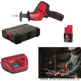 Комплект MILWAUKEE M12 FUEL CHZ-202C: Сабельная аккумуляторная пила FUEL CHZ-0 ПЛЮС Аккумулятор M12 B2, Зарядное устройство C12 C в кейсе 4933447738