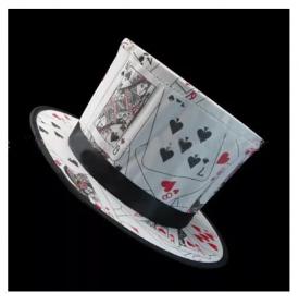 Складной цилиндр -  Folding Top Hat - Poker Pattern (карточный принт)