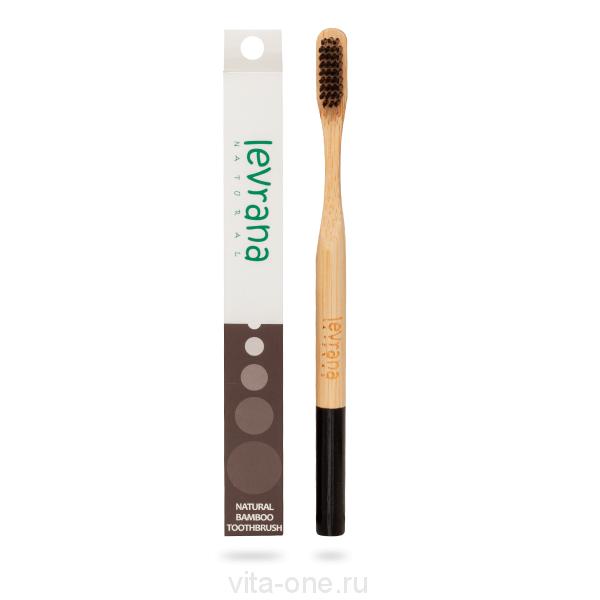 Бамбуковая зубная щетка средней жесткости Черная Levrana