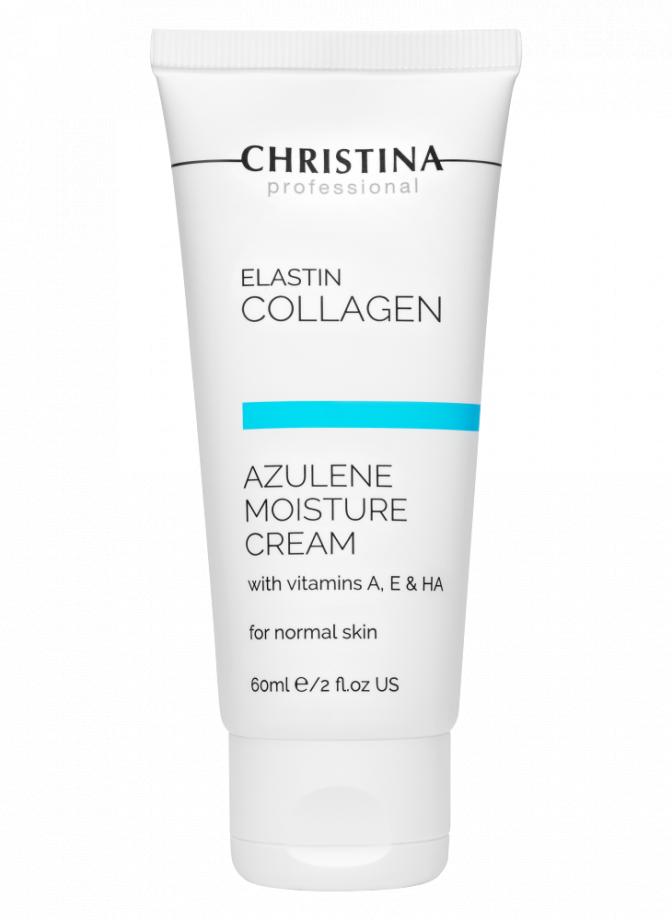 Увлажняющий крем c витаминами А, Е и гиалуроновой кислотой для нормальной кожи лица Эластин, коллаген, азулен Christina (Кристина) 60 мл