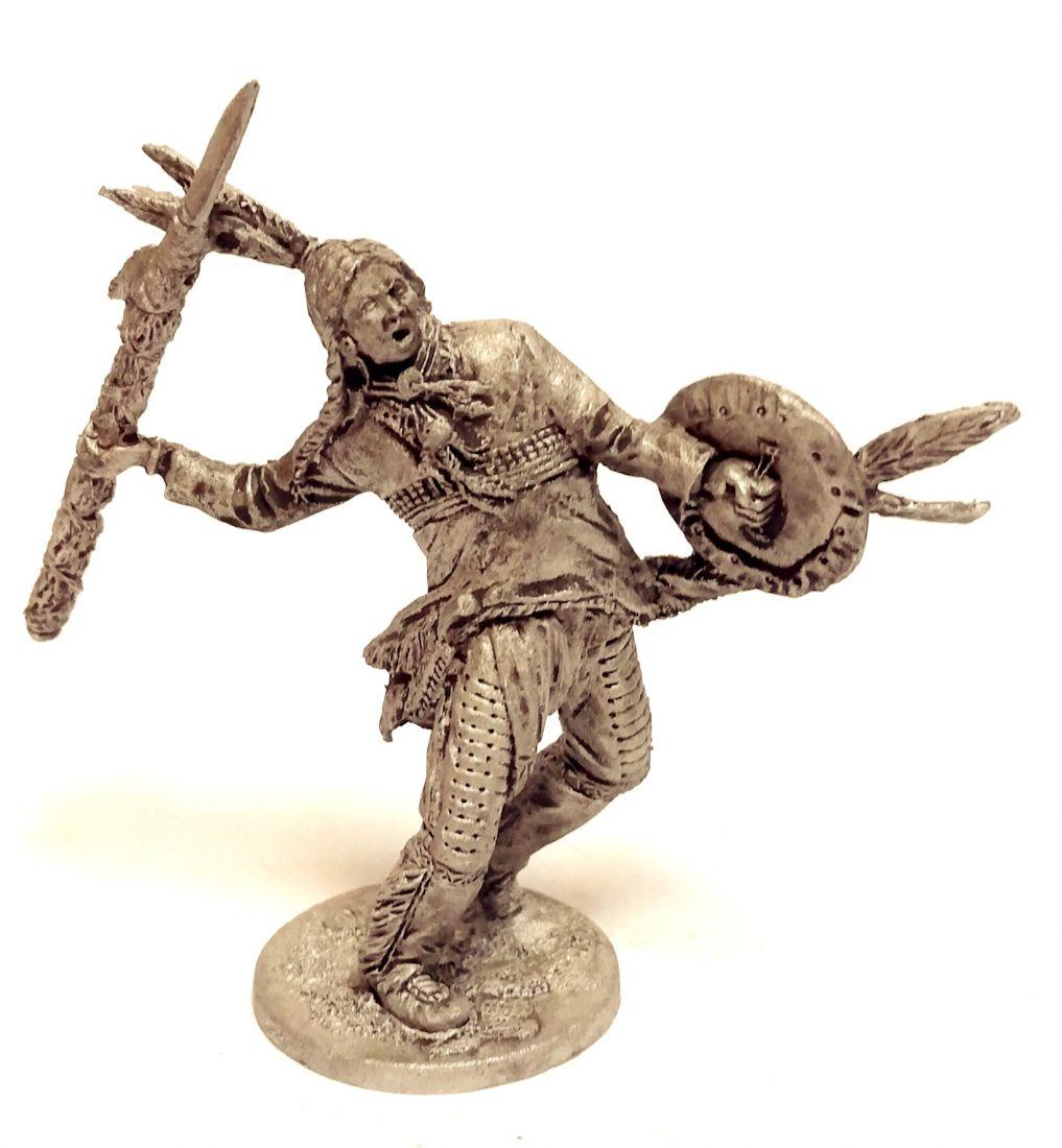 Фигурка Индеец с копьем и щитом олово
