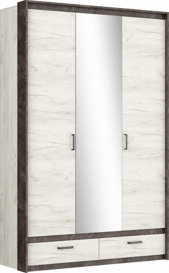 Прага Шкаф 3х-створчатый Дуб Белый Крафт/Ателье Темное МЕБЕЛЬМАРКЕТ