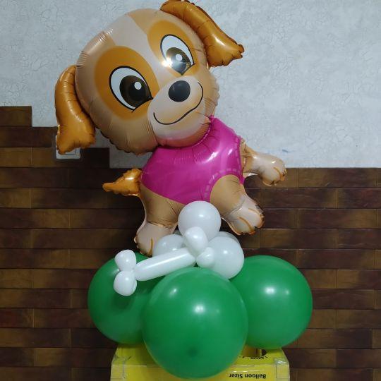 Щенок Девочка на подставке - Шар фольгированный - собачка