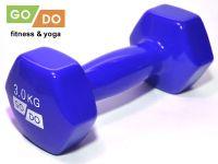Гантель GO DO в виниловой оболочке. Вес 3 кг. (синий)., артикул 31556 (шт.)