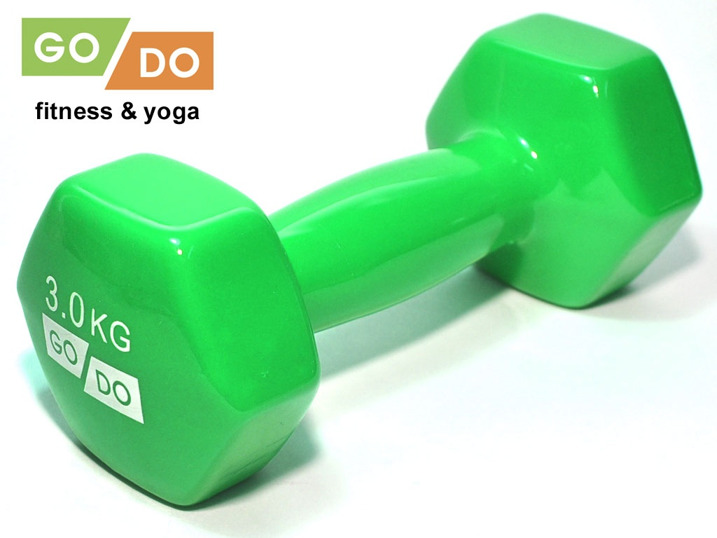 Гантель GO DO в виниловой оболочке. Вес 3 кг. (зелёный)., артикул 31556 (шт.)