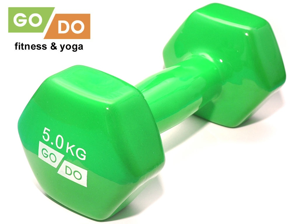 Гантель GO DO в виниловой оболочке. Вес 5 кг. (зелёный)., артикул 31731 (шт.)