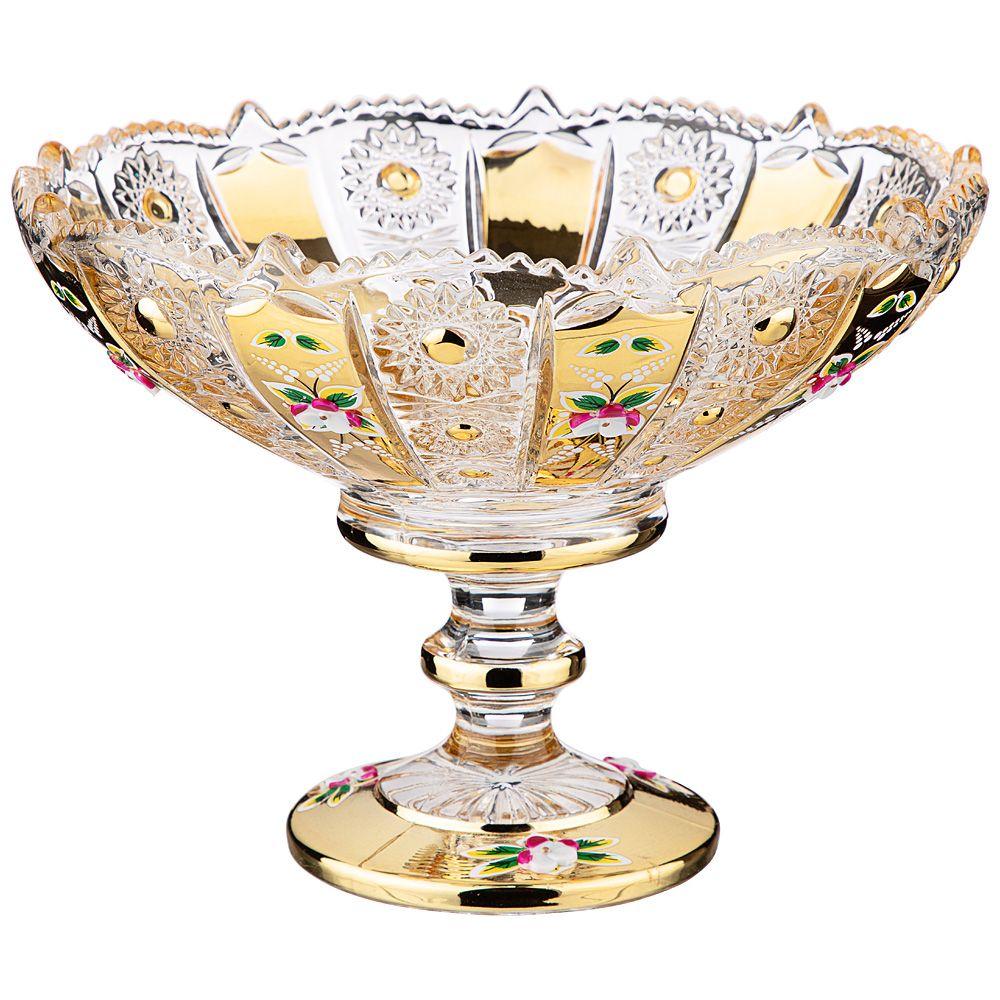 """КОНФЕТНИЦА """"LEFARD GOLD GLASS"""" 19,5*19,5 СМ. ВЫСОТА=15 СМ."""