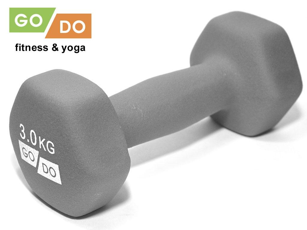 Гантель GO DO в виниловой матовой неопреновой оболочке. Вес 3 кг. (серый)., артикул 31562 (шт.)