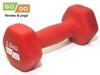 Гантель GO DO в виниловой матовой неопреновой оболочке. Вес 3 кг. (красный)., артикул 31562 (шт.)