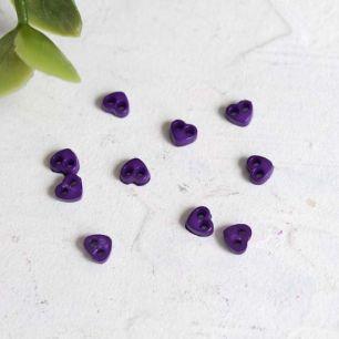 Набор микро пуговиц для творчества - Фиолетовые сердечки, 10 шт., 4 мм.