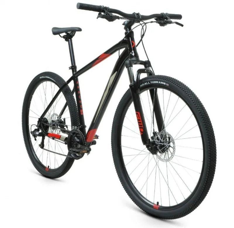 """Велосипед FORWARD APACHE 29 2.2 S DISC (29"""" 21 ск. рост. 17"""") 2020-2021 Чёрный/красный (RBKW1M39GS02)"""