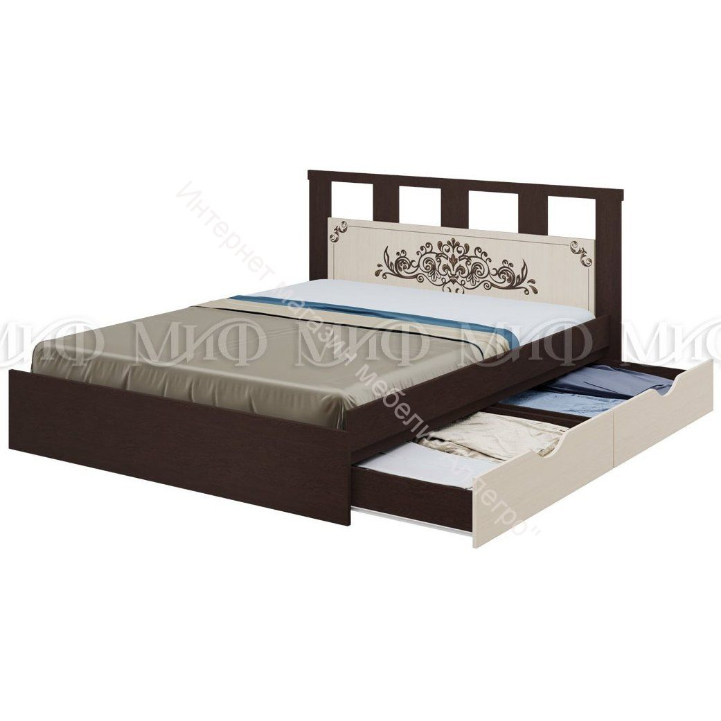Кровать Жасмин 1,6 м с ящиками