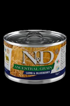 N&D DOG ANCESTRAL GRAIN LAMB&BLUEBERRY mini (Ягненок, черника для собак мелких пород) 140г.