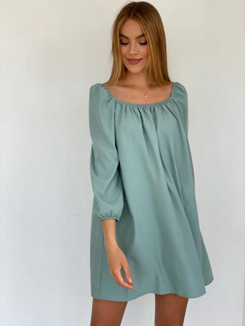 4221 Мини-платье с квадратным декольте фисташковое