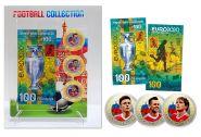 ЕВРО 2020 - 3 цветных монеты 10 рублей + 100 рублей банкнота (цветная эмаль+гравировка) + ПЛАНШЕТ