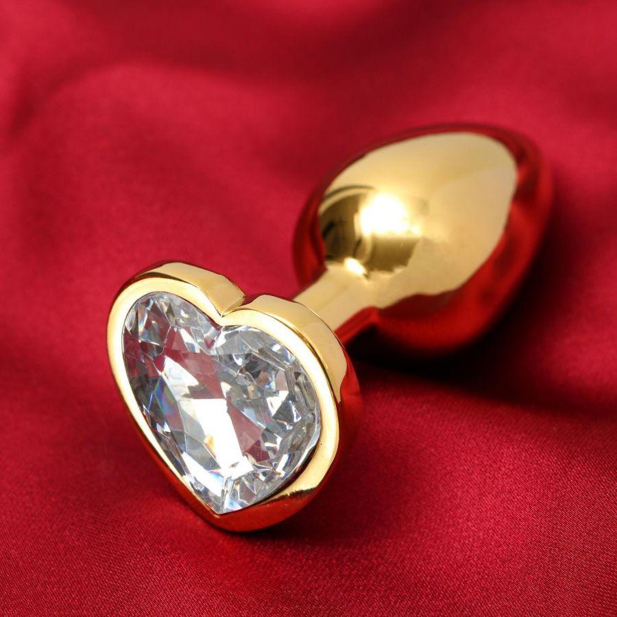Анальная втулка, золотая, с прозрачным кристаллом в форме сердца, D = 28 мм
