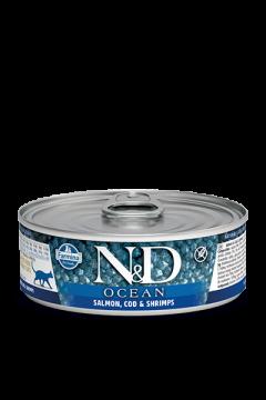 N&D CAT OCEAN SALMON, COD&SHRIMP (Лосось с Треской и Креветками для кошек) 80г.