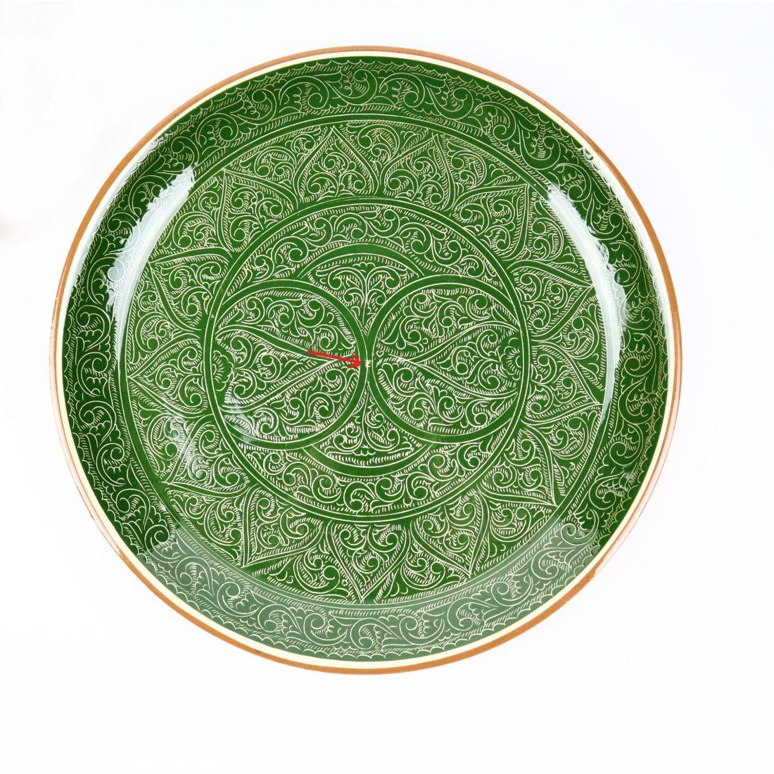 Ляган узбекский, Риштан, зеленый, d 380 мм, (УЦЕНКА)